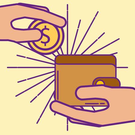 hand holding wallet coin money  buy online vector illustration