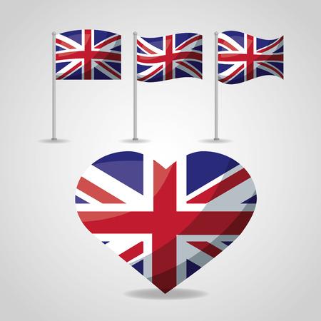 united kingdom hearts london flags vector illustration