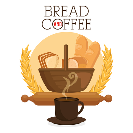 delicious breads and coffee label vector illustration design Stockfoto - 114962142