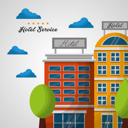 hotel high buildings colorful clouds trees vector illustration