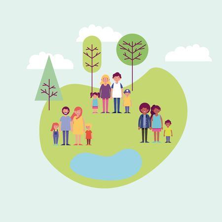 Menschen parken glückliche Familien, die lächelnde Vektorillustration im Freien genießen Vektorgrafik