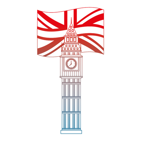 london big ben british flag landmark symbol vector illustration gradient design Illustration