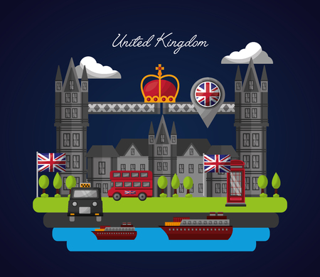united kingdom country flag sea boat city crown queen location taxi castle trees brigde vector illustration Illustration