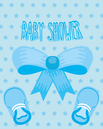 blue bow little shoes ribbon dotted background baby shower card vector illustration Illustration