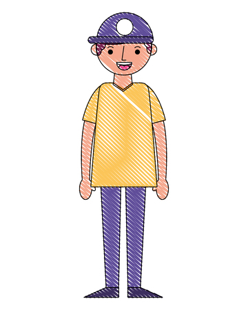 young man with cap avatar character vector illustration design Illustration