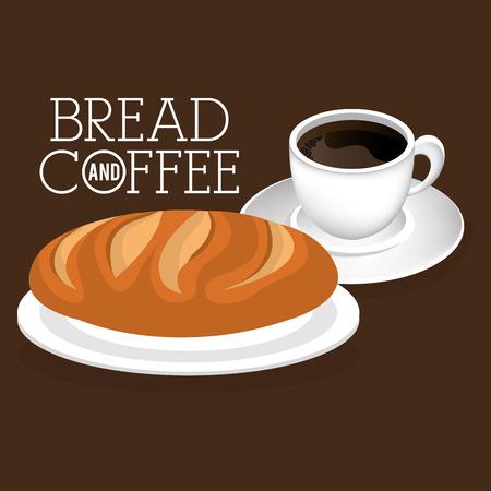 delicious bread and coffee label vector illustration design