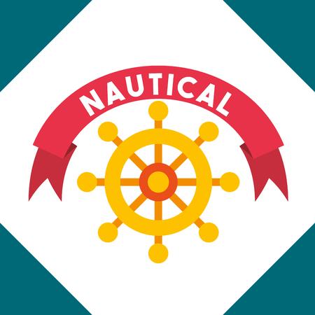 nautical maritime design red ribbon sign helm vector illustration Иллюстрация