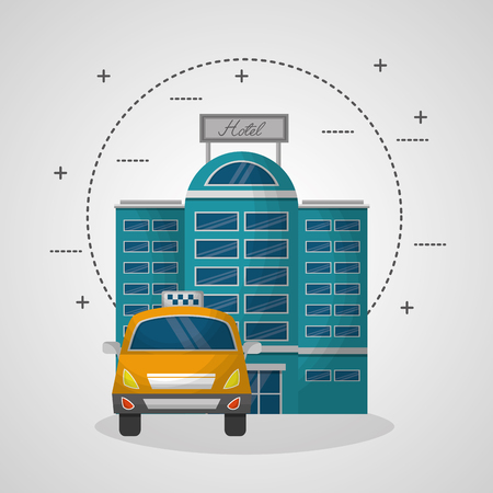 hotel building facade travel taxi service vector illustration