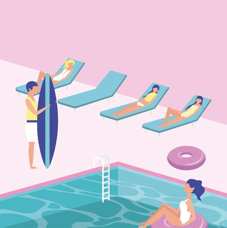 summer time vacations boy holding surf table girls lying down deck chairs pool day vector illustration Stock Illustratie