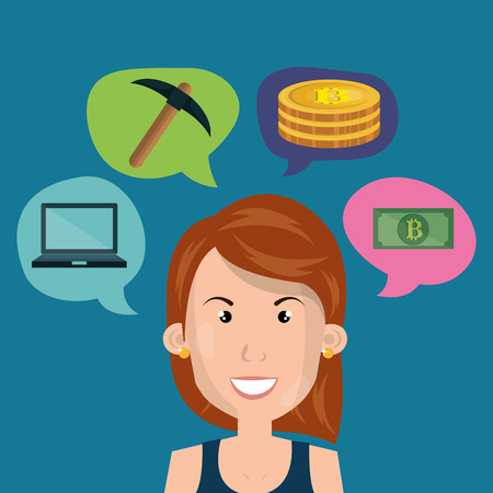 businesswoman with bitcoin business vector illustration design