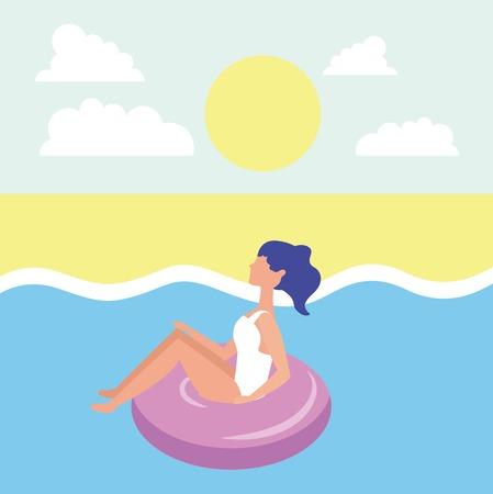 summer time vacations girl sitting float sea beach sunny day vector illustration Illustration