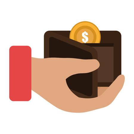 hand with wallet and coins money vector illustration design