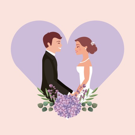 wedding card bride and groom holding hands in heart flowers vector illustration