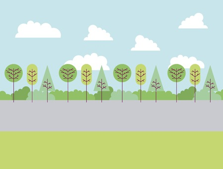 park and trees road clouds shrubbery vector illustration Standard-Bild - 114962162