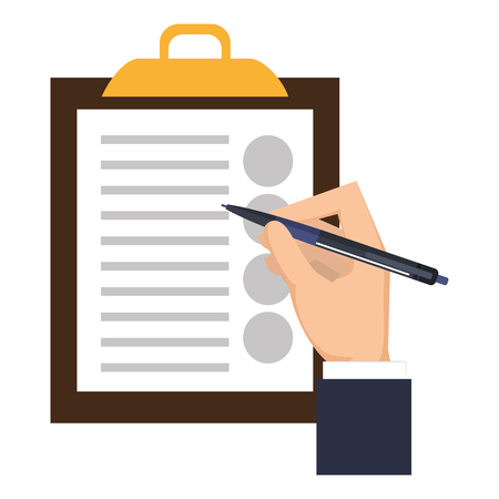 hand writing with pencil in clipboard vector illustration design