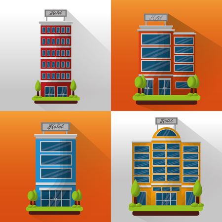 hotel building set architecture facade trees vector illustration