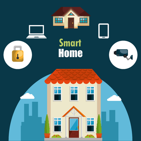 smart house with set services icons vector illustration design Stock Vector - 114962172