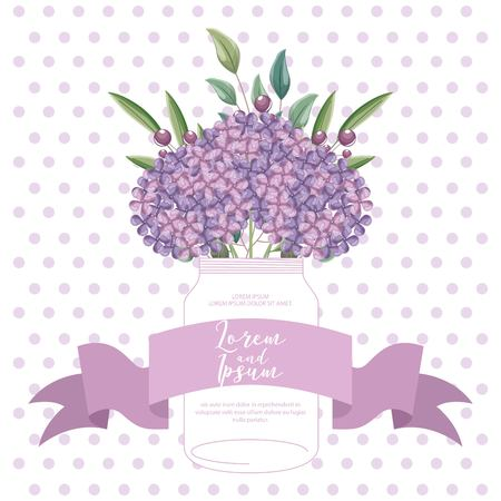 hydrangea flowers decoration in glass vase vector illustration