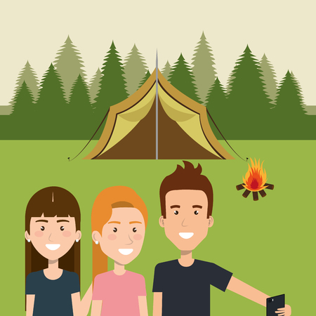 friends with smartphones in the camping zone vector illustration design