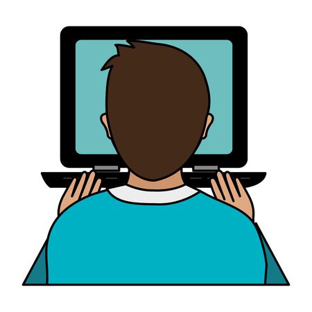 worker using laptop computer vector illustration design