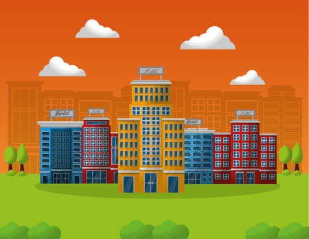 hotel building service in natural landscape vector illustration