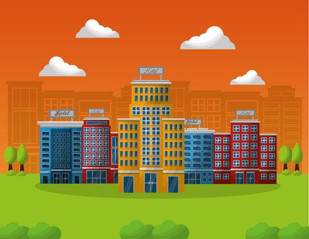 hotel building service in natural landscape vector illustration