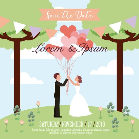 wedding couple holding balloons hearts save the date card vector illustration
