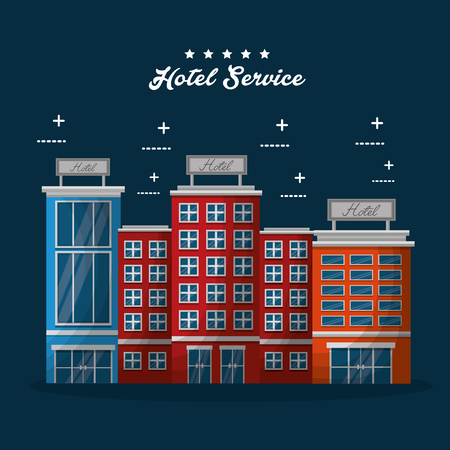hotel building service colorful lodging vector illustration