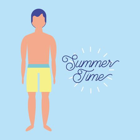 summer time vacation boy with shorts standing vector illustration