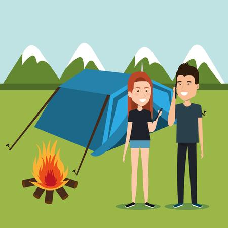 coppia con smartphone nella progettazione dell'illustrazione di vettore della zona di campeggio