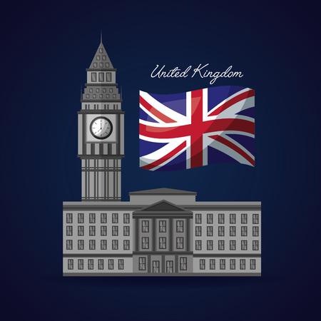 united kingdom flag big ben london vector illustration Illustration