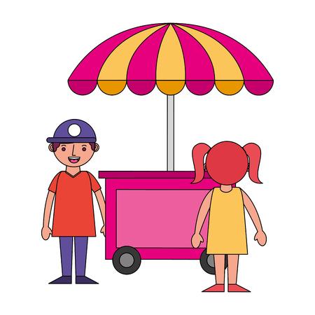 shop fast food cart with little kids icon vector illustration design Archivio Fotografico - 104774795