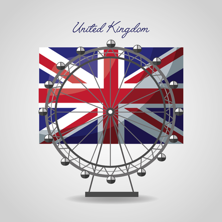 united kingdom places flag london eye attraction vector illustration
