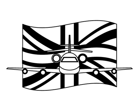 airplane with england flag front view vector illustration black and white