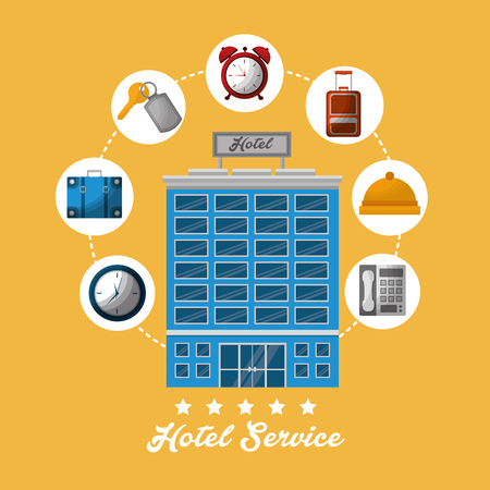 hotel building stickers connection ring call telephone clocks key suit lodging vector illustration