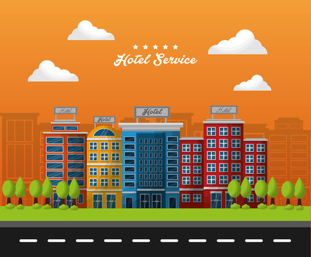 hotel service colorful buildings lodgingng clouds road vector illustration Ilustração