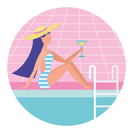 girl on the edge of the pool with a cocktail in her hand vector illustration