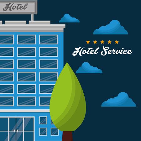 hotel building tree blue clouds nigth lodging vector illustration Çizim