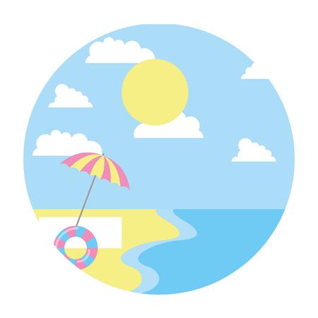 beach shore umbrella float sunny day summer vector illustration