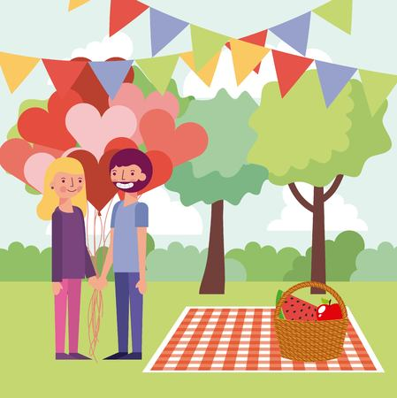 people in the park pennants picnic lovers couple holding hands hearts vector illustration 向量圖像