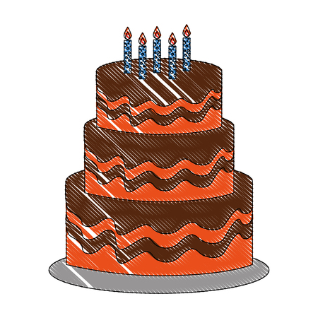sweet birthday cake with candles decoration vector illustration