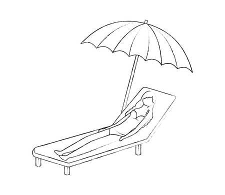 woman in swimsuit on the deck chair with umbrella vector illustration