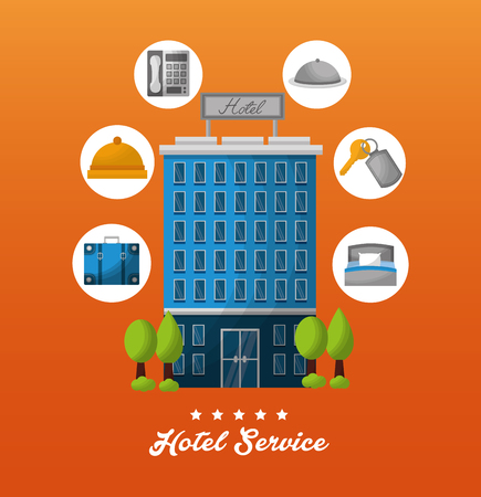 hotel building service ring key suit bag telephone vector illustration