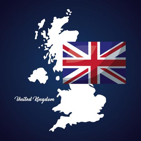 united kingdom country grunge map background flag vector illustration