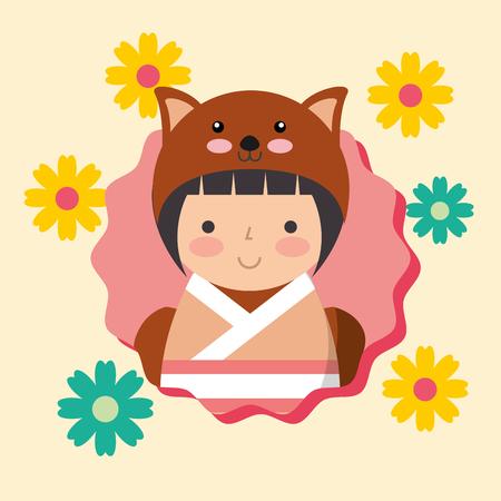 beautiful kokeshi doll in costume animal kimono vector illustration Foto de archivo - 114969542