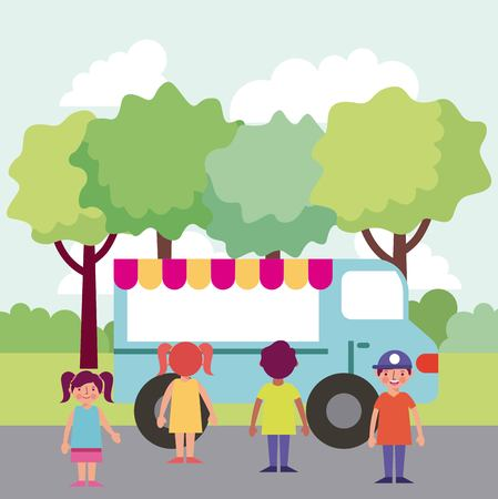 people in the park food car happy childrens smiling vector illustration Foto de archivo - 114969545