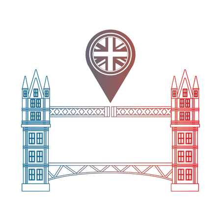 london bridge and united kingdom flag in pointer map vector illustration gradient design