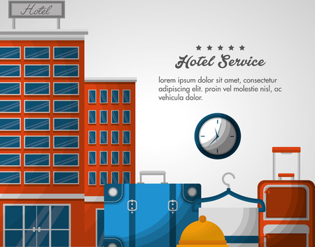 hotel service clock alarm suitcases and towel vector illustration Illustration