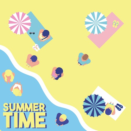 people summer time beach sea enjoying water umbrellas vector illustration Illustration