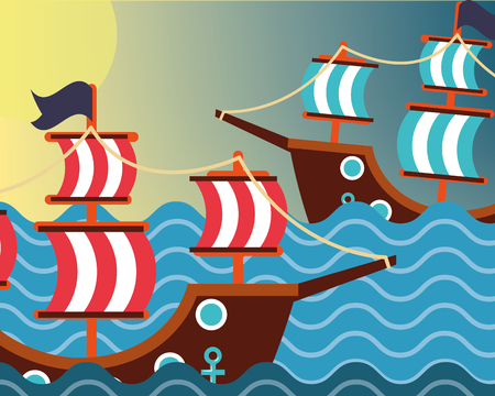 nautical maritime design ocean pirate ships vector illustration 向量圖像